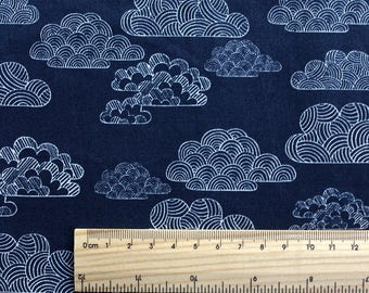 "FISRT LIGHT fabric by Eloise Renouf - Nimbus Navy. Cloud 9 Fabric. Organic cotton. Half metre (19.5"")"