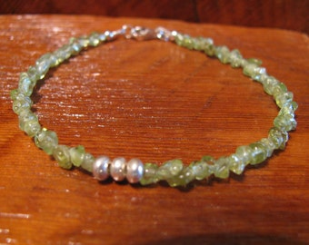 Peridot Gemstones and Karen Hill Tribe Silver Bracelet August Birthstone -ToniRaeCreations