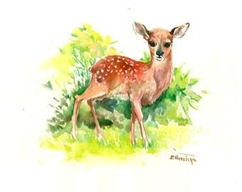 Animal Artwork Deer, Original watercolor painting, 14 x 11 in, nursery children room animal art gift,