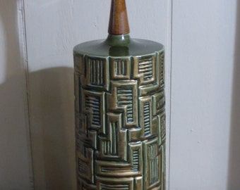 Mid- Century Brutalist Ceramic Table Lamp - Sage Green With Gold - Signed