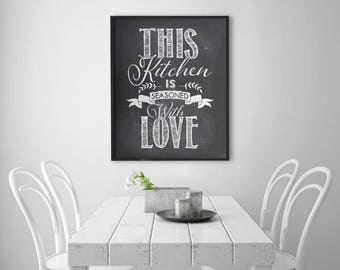 INSTANT DOWNLOAD Printable Digital art file - This kitchen is seasoned with love - Chalkboard style kitchen typography art- SKU:561