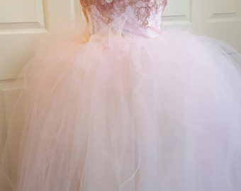 Pink Gold & White Embroidered Lace Tulle Natural Waist Princess Bridal Wedding Ball Gown