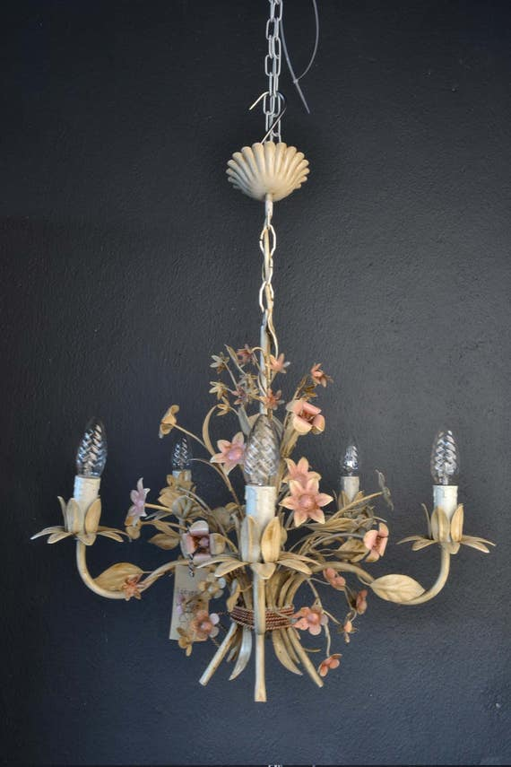 Beautiful painted toleware chandelier from france (RESERVED)