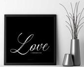 Love, 1 Corinthians 13:13, Black & White, Wall Art Prints, Poster, Typography, Christian, Wedding, Bible Scripture, Decor, 5x5, 8x8, 12x12
