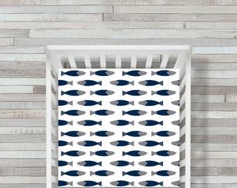 Nautical Fish Crib Sheet, Crib Bedding Fish, Beach Baby Sheet, Fish Crib Sheet, Nautical Fish Nursery Sheet, Red Navy Baby Sheet, CoolSpool