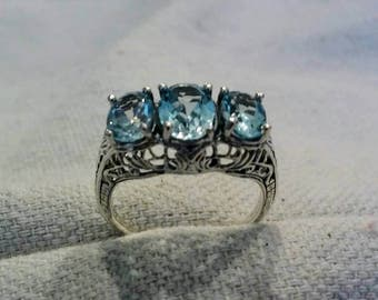 Sterling Silver Aquamarine Ring 3 Oval Past Present Future Art Nouveau Blue Well Made March Birthstone Mothers Day Elegant FREE Ship In USA