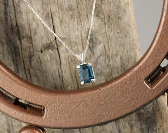 Sterling Silver Pendant/Necklace-London Blue Topaz Pendant/Necklace - Sterling Silver Setting with a 8mm x 6mm London Blue Topaz Stone
