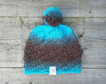 Ombre knitted beanie with blue and brown gradient with pompom - Wooly hat , Winter hat , Knitted cap , Bobble hat