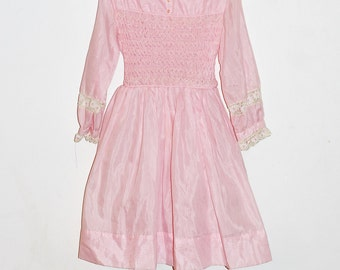 Vintage Polly Flinders Light Pink Smocked Dress Lace Flower Details Long Sleeve with Petticoate Size 10