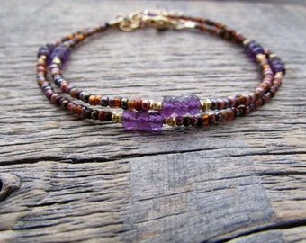 Amethyst Bracelet, February Birthstone Bracelet, Bead Wrap Bracelet, Gemstone Bracelet, Amethyst Necklace, Amethyst Jewelry, Amethyst Choker