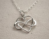 Infinity Heart Necklace, Sterling Silver Infinity Heart Pendant - Eternal Love Jewelry - Customize Personalize