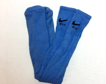 Vintage 80s - 90s NIKE AIR Tube Socks // 1980s // 1990s // Athletic // Tall Socks // Swoosh // Retro // Light Blue