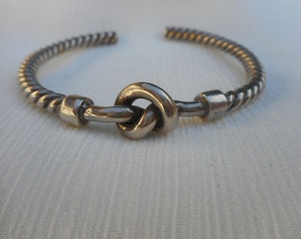 Sterling Silver Knot and Braided Style Cuff Bracelet