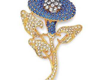 Jackie Kennedy Morning Glory Brooch - Gold Plated, Simulated Sapphires, Box and Certificate