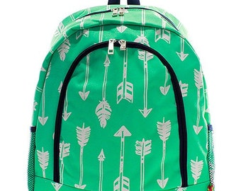Kids Personalized Backpack Mint Arrow Navy Trim Monogrammed Girls Mint Bookbag