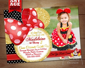 Minnie Mouse Birthday Invitation, Red and Gold Glitter Minnie Mouse Invitation, Digital Invitation, Printable Minnie Mouse Invitation
