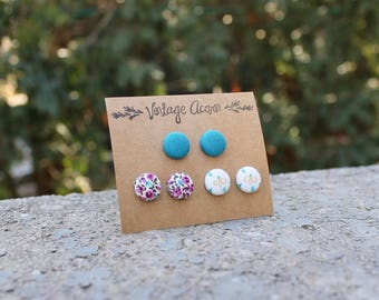 Fabric Button Earring Trio - Floral, Teal, Bee // Colourful Studs // Multi Pack Earrings // Covered Button Earrings // Blue