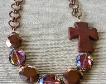 Chunky Crystal Statement Necklace, Chunky Cross Necklace, Cross Statement Necklace, Religious Jewelry, Copper Jewelry, Copper Necklace