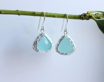 Mint Chalcedony Earrings Silver Dangle Earrings - Quartz Earrings - Drop Earrings - Birthstone Earrings Blue Jewellery - Chalcedony Earrings