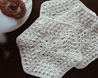Crochet Hexagon Dishcloths [Set of 3]