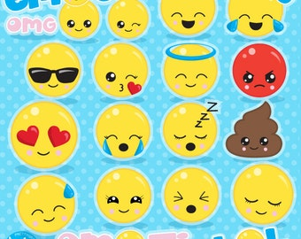 Emoji clipart commercial use, smiley face clipart vector graphics, emoji party digital clip art, smiley digital images - CL1062