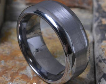 Tungsten Brushed Silver Satin Stripe Center w/ Ultra Rounded Edges Comfort Fit Personalized Mens Womens Wedding Ring Band - AZ205