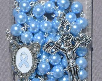 Prostate Cancer Awareness - 8mm Light Blue Glass Rosary