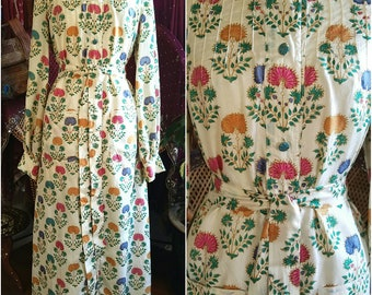 Vintage 70s Treacy Lowe UK rare painted silk sari India chemise dress bohemian gypsy boho hippie sweet flawless condition