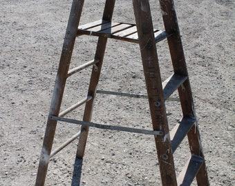 Specialty Platform Step Vintage Wood Ladder (plat03)