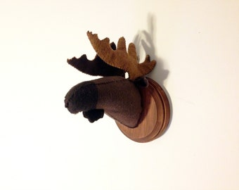 Moose faux taxidermy on wooden mount