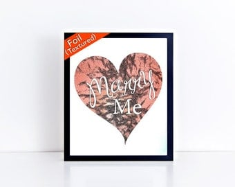 Marry Me Heart Textured Foil Print - Gift Prints,  8x10