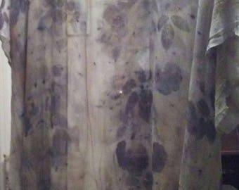 Silk Kimono and Shawl: Botanical Ecoprint Kimono Robe or Jacket, or Beach Cover Up and Shawl Set