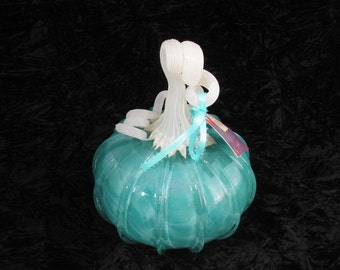 Small Turquoise Hand Blown Glass Pumpkin W309
