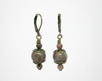Indian Agate and Brass Earrings