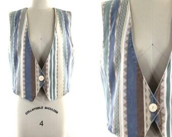 1980s slouchy vest • oversized vest • printed denim vest • southwestern print vest • pastel vest M/L