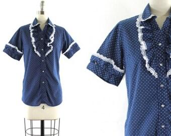 1970s western shirt • ruffled blouse • polkadot shirt • pearl snap button down • western wear shirt • cowgirl shirt S