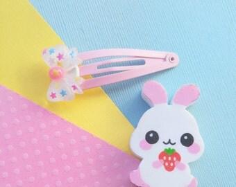 Fairy Kei Blue Star Hairclip Cute Pastel Hair Clip Fairy Kei Clips for Girls Cute Hair Bow Hair Clip Kawaii Hair Clips