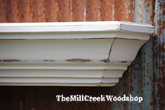"Shelf 48"" Distressed Wood Wall Shelf Fireplace Mantel Crown Molding Barn Floating Ledge Mantle Farmhouse Wooden Headboard Rustic"