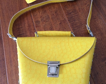 Yellow Leather Purse, Yellow Cross Body Bag, Leather Handbag, Faux Alligator Print Purse, Leather Purse With handle, Silver Studded Handbag