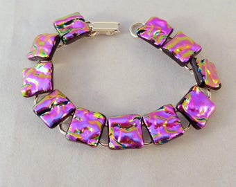 7 Inch Pink Dichroic Fused Glass Bracelet, Fused Glass, Dichroic Bracelet, Fused Glass Bracelet, Dichroic, Glass Bracelet, Pink Bracelet,