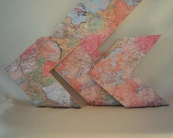 Set of 3 Map Arrows, Vintage Maps, Traveler Arrows, World Maps, Chevron Arrow Decor, World Decor, Maps Decor, Map Collage