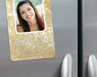 Mariana - Quinceanera Save the Date Magnets + Envelopes