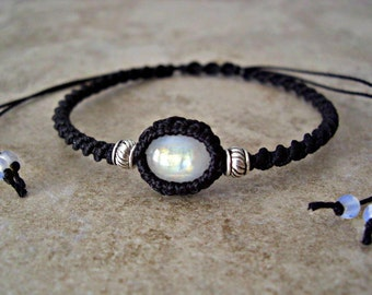 Rainbow Moonstone, Silver Accents, Black Braided Bracelet, June Birthstone, Gift for her, Moonstone Bracelet, Moonstone Jewelry