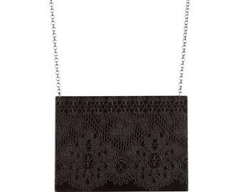 Black Lace Pendant, Etched Brass Pendant, Blackened Brass Pendant, Black Metal Necklace, Etched Metal Necklace, Victorian Lace Necklace
