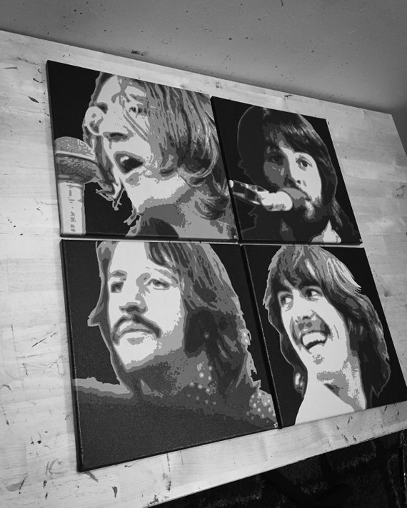 The Beatles Set of Four Let it Be Album Cover Custom Pop Art Canvas Made to Order