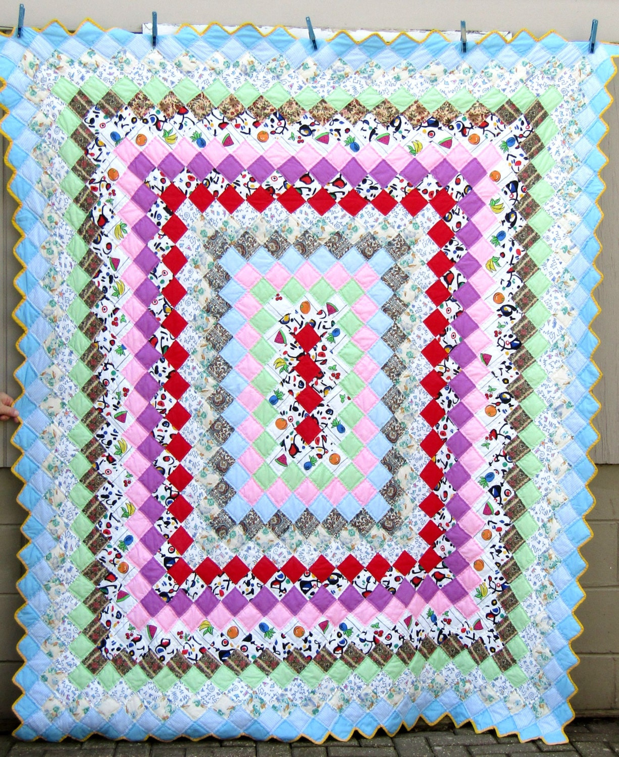 Colorful Vintage TRIP AROUND the WORLD Quilt Hand-Quilted and