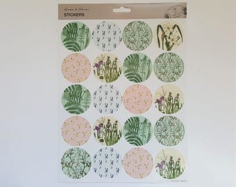Sticker Sheet – Round Stickers – Large Stickers – Purple Blue Green Pink - Lavender Plants Botanical Flowers Floral