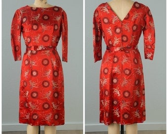 1950s Red Asian Inspired Wiggle Cocktail Dress