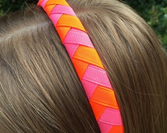 Neon Bright Orange / Hot Pink Chevron Woven Headband
