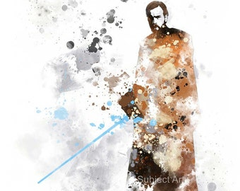 Obi-Wan Kenobi, Star wars ART PRINT illustration, Home Decor, Wall Art